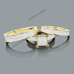 Three Piece Ring Sets Gold Diamond Wedding Ring Set 055ct 10K