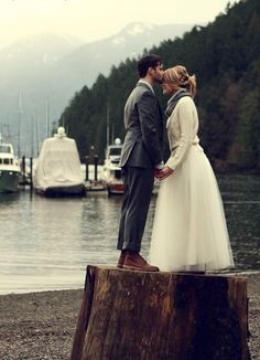 winter wedding love this! Pacific Northwest style and no train on the gown.Love how the gown is, by definition, modest.  And very different!