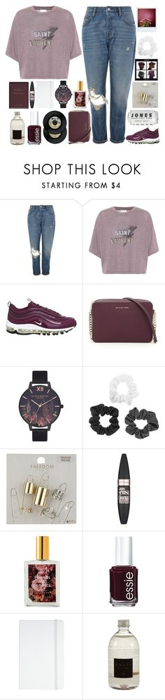 """hold me tight or don't"" by aniella400 ❤ liked on Polyvore featuring Topshop, Yves Saint Laurent, NIKE, MICHAEL Michael Kors, Olivia Burton, Maybelline, ColourPop, Essie, ASOS and philosophy"