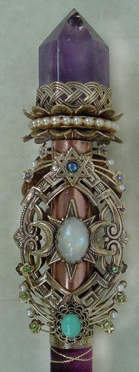 Celtic wiccan wand with Amethyst point http://www.heartsongs-crystal-wands-crowns.com/new_creations.htm
