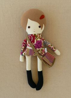 Fabric Doll Rag Doll Girl in Tall Black Boots with Satchel