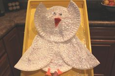 Snow Owl Craft! paint on the white glue and shake on the fake snow