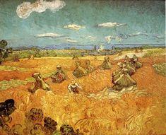 vincent van gogh, Ciudades, pilas de trigo con el segador 1888