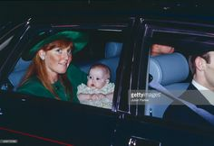 Sarah, Duchess of York, and Prince Andrew Duke of York, with their daughter Princess Beatrice at her Christening at St James's Palace, on December 20, 1988 in London, United Kingdom.