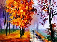 Oil Paintings of Leonid Afremov photo  This reminds me of Russia's forest, the rows and rows of trees!