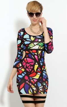 Side Cut Out Stainglass Bodycon Dress
