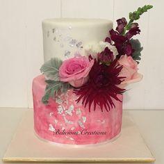A post wedding cake for Rachel and Farid #wedding #cake #silverleaf #freshflowers