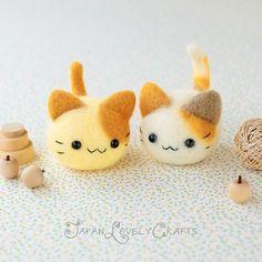 Japanisch-Nadel-Wolle Filz Maskottchen DIY Kit - Kawaii Twin Cats - Midori Hattori - Hamanaka Wollfilz Tier Kit - japanische Filzen Versorgung, F13