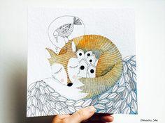 Reveillez-vous parfois avec une sensation que votre rêve n'etait pas juste un rêve? Peinture originale à l'encre et aquarelle Format 20x20cm Papier 425g/m2 Prix: 55€ All rights reserved Aleksandra Sobol 2015 Les autres animaux de série de la foret sont...