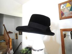 Black Velvet Hat Wide Brim Hat Square Brim Hat by LandofBridget