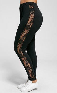 0760d1207e50b fashion trends Plus Size Lace Insert Sheer Leggings Sheer Leggings