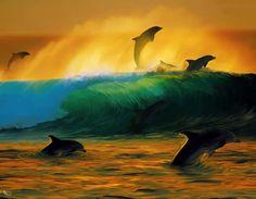 Delfines y olas  90x70cm $650.-