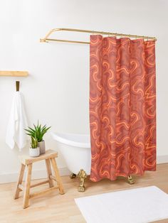 """""""Navy and Rust abstract floral II (small pattern)"""" Shower Curtain by BlertaDK Elegant Shower Curtains, Modern Shower Curtains, Contemporary Shower, Bath Towels, Floor Pillows, Tub, Bathroom, Design, Home Decor"""