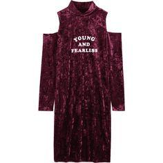 Cold Shoulder Letter Velvet Dress ($25) ❤ liked on Polyvore featuring dresses, longsleeve dress, open shoulder dress, purple dresses, cold shoulder dress and long sleeve day dresses