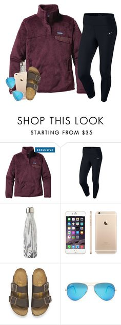 """"" by serenag123 ❤ liked on Polyvore featuring Patagonia, NIKE, S'well, Birkenstock and Ray-Ban"