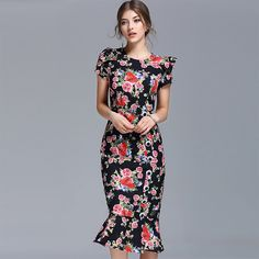 2017 New Arrival Spring Women Retro Mermaid Dress Short Sleeve O_neck Slim Knee Length Print  Floral Women's Clothing Dress #Affiliate