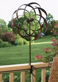 Copper Kinetic Wind Sculpture Dual Spinner   Spinning Ficus Leaves For .