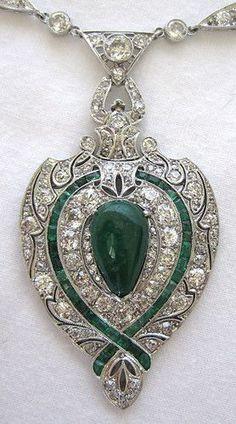 Fine Art Deco Platinum Diamond & Emerald Necklace