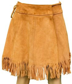 1960s Small Skirt Wrap Fringed Leather Boho Hippie Indian Native American Woodstock Festival Coachella Mini Cowgirl Cowboy Western Costume