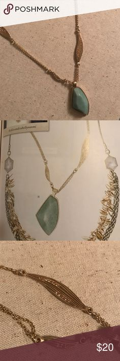 """Gilded Reeds Aventurine Long Pendant Semi-precious aventurine, light Colorado topaz crystal accents, 12K gold-plated lobster clasp, 30"""" longer with 2"""" extender. Never worn but no tags. Chloe + Isabel Jewelry Necklaces"""
