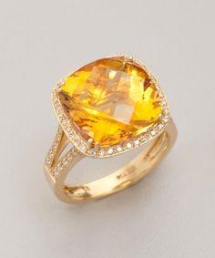 citrine & diamond cocktail ring