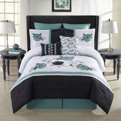 Elyse 8-Piece Comforter Set in Aqua/Multi - BedBathandBeyond.com
