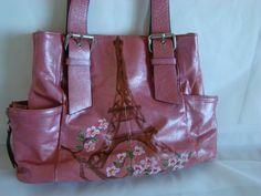 Purse  Eiffel Tower with Cherry Bloosm Hand by KathrynGreenwald, $75.00