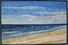 Tag am Strand Verkauft - Quick quilts - Ocean Quilt, Beach Quilt, Coastal Quilts, Landscape Art Quilts, Nancy Zieman, Miniature Quilts, Quilted Wall Hangings, Funny Art, Tim Holtz