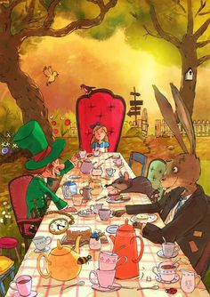 Mad Tea Party ~ Artist: Kai Schuettler ~ One of my favorite scenes from Alice in Wonderland ~ ♥