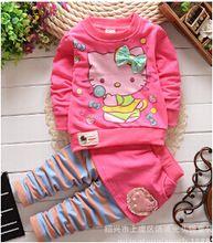 Nueva primavera otoño de los bebés ropa set kids manga larga de dibujos animados hello kitty sistema ocasional de la camiseta + pants 2 unids juego de la ropa(China (Mainland))