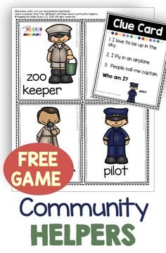 FREE Community Helper activities for kindergarten and first grade - printables games and worksheets