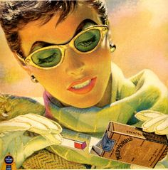 vintage 1950 pinup girl cat eyes advertisement by FrenchFrouFrou, $14.95