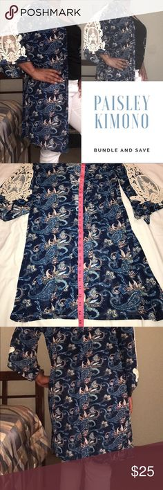 Paisley print Kimono🌺🌺 Paisley print Kimono with Embroidered appliqué on the sleeves. Very comfortable and stylish! Other