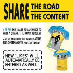 Re-pin this image for chance to win a Share The Road jersey!
