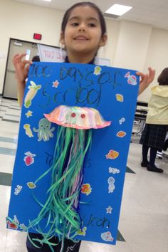 Celebrating 100 days of school. Jellyfish with 100 tentacles.