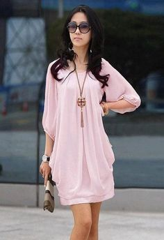 Summer Fashion Women Graceful Chiffon Casual Short Sleeve dress Pink  - $38