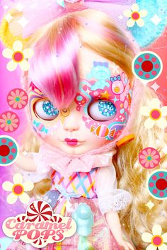 A customised Blythe doll inspired by the 80s doll/cartoon Lady Lovely Locks, by Sheena Aw/ Caramel Pops