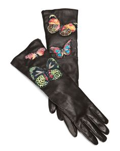 Valentino Napa Leather Butterfly Embroidered Gloves