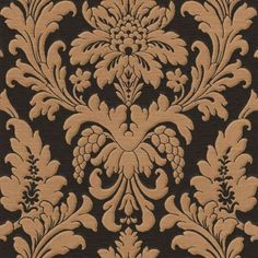 Rasch Wallpaper: Trianon Damask - Black/Bronze (Super Washable Heavy Vinyl): Details and purchase options from Lancashire Wallpaper and Paint Damask Wallpaper Living Room, Gold Damask Wallpaper, Wallpaper Uk, Wallpaper Paste, Adhesive Wallpaper, Designer Wallpaper, Pattern Wallpaper, Gold And Black Wallpaper, Fries