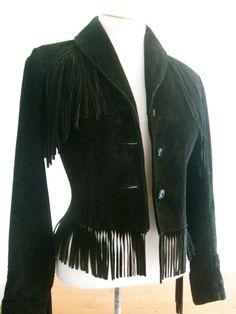 4b1baf16 Vintage Schott Black Suede Fringed Fitted by ErmaJewelsVintage, $100.00  Annie Oakley, Fringe Jacket,