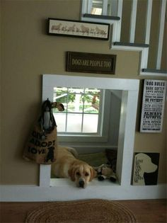 Top 10 Interesting Design Ideas for Pet Spaces - Top Inspired indoor dog house under stairs. I love how bright and sunny that area is! Decor, Indoor Dog House, House Design, House, Home Projects, Home, Home Improvement, Under Stairs, New Homes