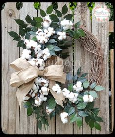 Cotton Wreath   Burlap Wreath   Front Door Wreath   Year Round Wreath    Outdoor Wreath