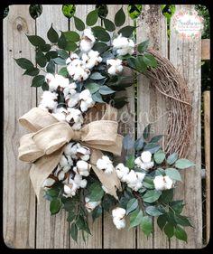 Cotton Wreath - Burlap Wreath - Front Door Wreath - Year Round Wreath - Outdoor Wreath - Rustic Wreath - Spring Wreath - Summer Wreath - Everyday Wreath - Southern Wreath - Handmade Wreath - Southern Belle Wreath - Cotton Door Décor - Cotton Home Décor - Door Candy - Burlap Cotton Wreath by SouthernThrills on Etsy
