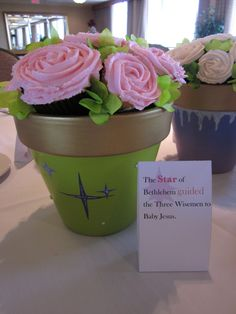 2011- United Methodist Women's Luncheon (Potted Cupcake Roses as Centerpieces)
