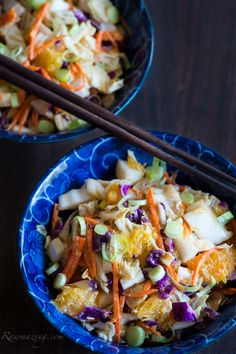 Raw Asian Slaw with Red Chili Peanut Dressing #healthy