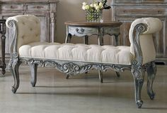 ❤️ French bench ~ Pulaski Accentrics Arabella St. Tropez Bench $850. The carved frame of this bench borrows from all the traditional French Court elements: cabriole legs with scroll feet, shell and foliate motifs, and classic S scroll arms. The bench features upholstered tufted seat and arms, creating a beautiful and fanciful place to perch or relax. Product ID/SKU: PL-208027. $849.99 (List Price: $1,045.49) You Save 23%: $195.50. FREE SHIPPING.  Brand:Pulaski Furniture…