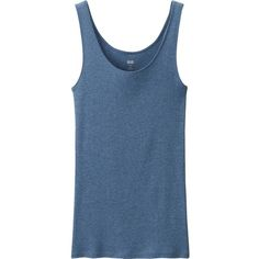 UNIQLO Women Supima Cotton Sleeveless Top (13 CAD) ❤ liked on Polyvore featuring tops, layering tank tops, seamless tank, layering tanks, blue tank ve cotton tank tops
