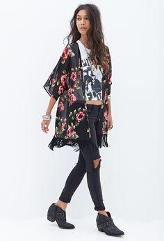 Rose & Fringe Kimono #F21StatementPiece