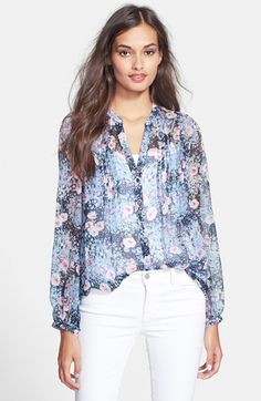 Joie 'Martine C' Split Neck Silk Blouse available at #Nordstrom