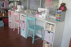 vintage sewing room, craft rooms, home decor, wall decor, vintage sewing room